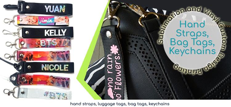 bag tag, hand straps, keychains